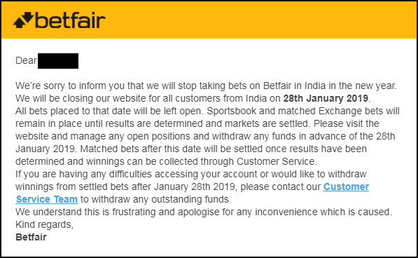 India account closed Betfair