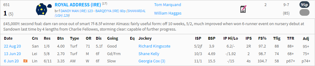 timeform ratings racecard