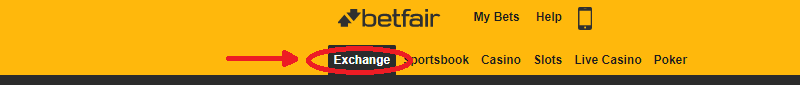 Betfair exchange tab